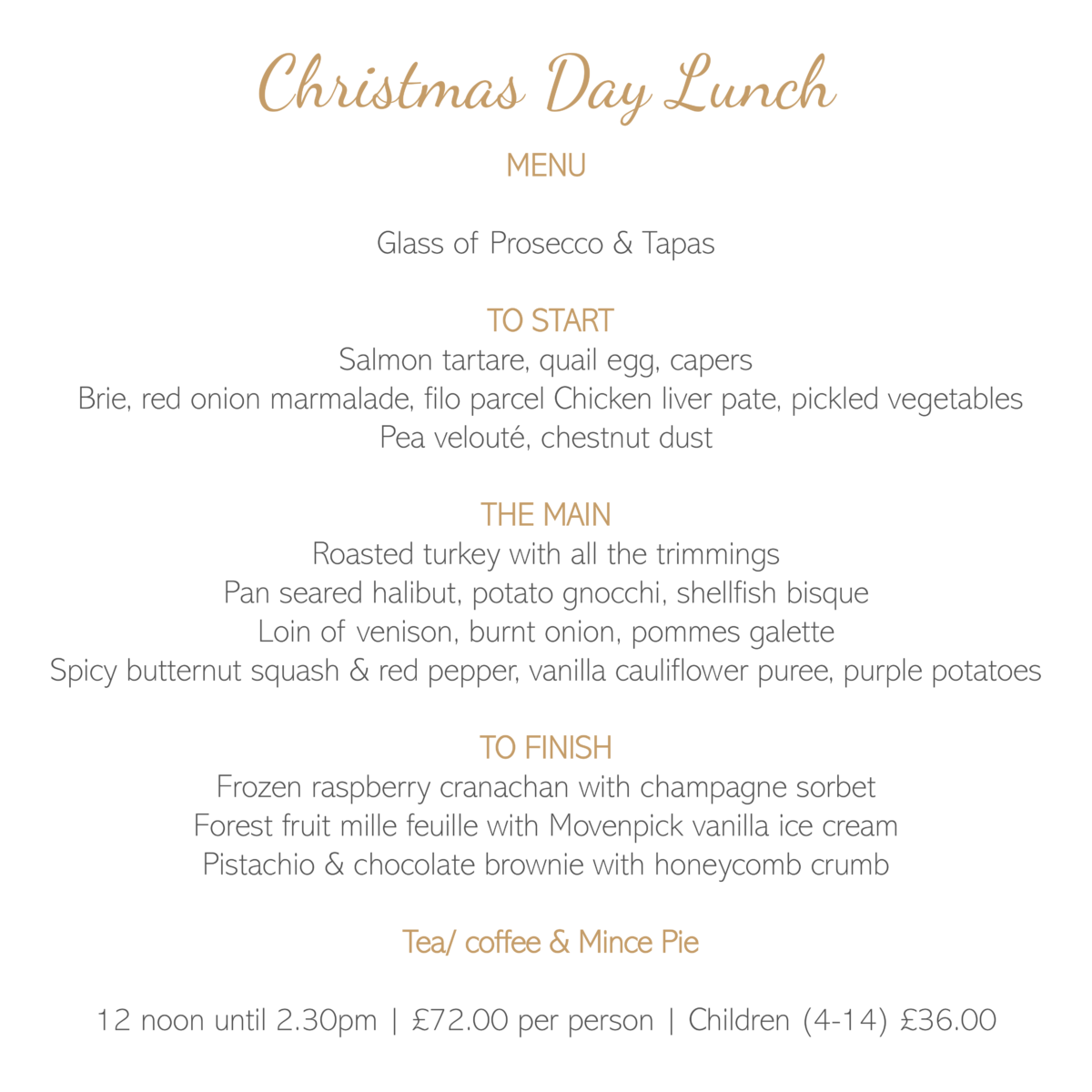 Christmas Day Lunch Menu 2019 , Friars Carse Hotel